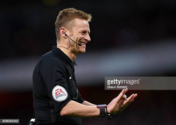Referee Mike Jones during the Premier League match between Arsenal and AFC Bournemouth at Emirates Stadium on November 27 2016 in London England