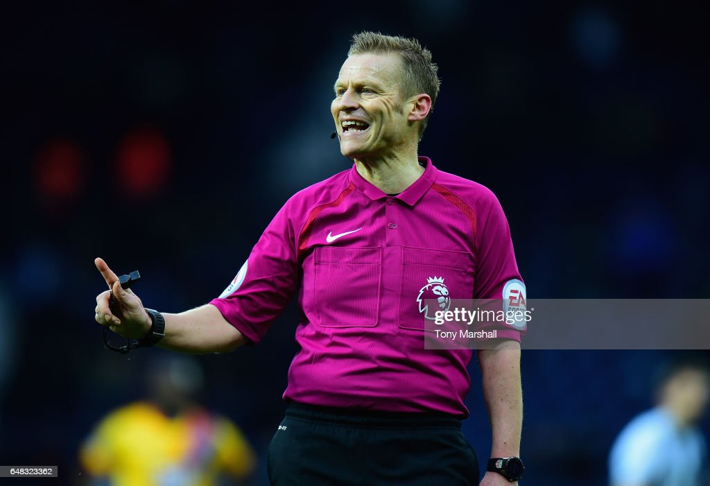 Referee Mike Jones during the Premier League match between West Bromwich Albion and Crystal Palace at The Hawthorns on March 4, 2017 in West Bromwich, England.
