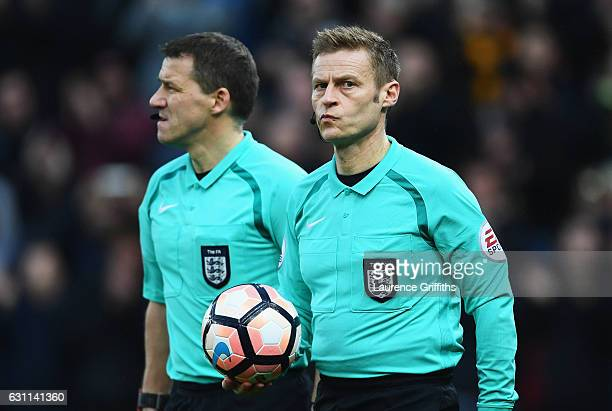 Referee Mike Jones is seen prior to The Emirates FA Cup Third Round match between Stoke City and Wolverhampton Wanderers at Bet365 Stadium on January...