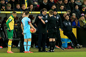 Referee Mike Jones talks to Slaven Bilic manager of West Ham United during the Barclays Premier League match between Norwich City and West Ham United...
