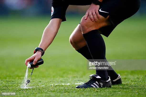 Referee Mike Jones uses vanishing spray during the Barclays Premier League match between Crystal Palace and Manchester United at Selhurst Park on...