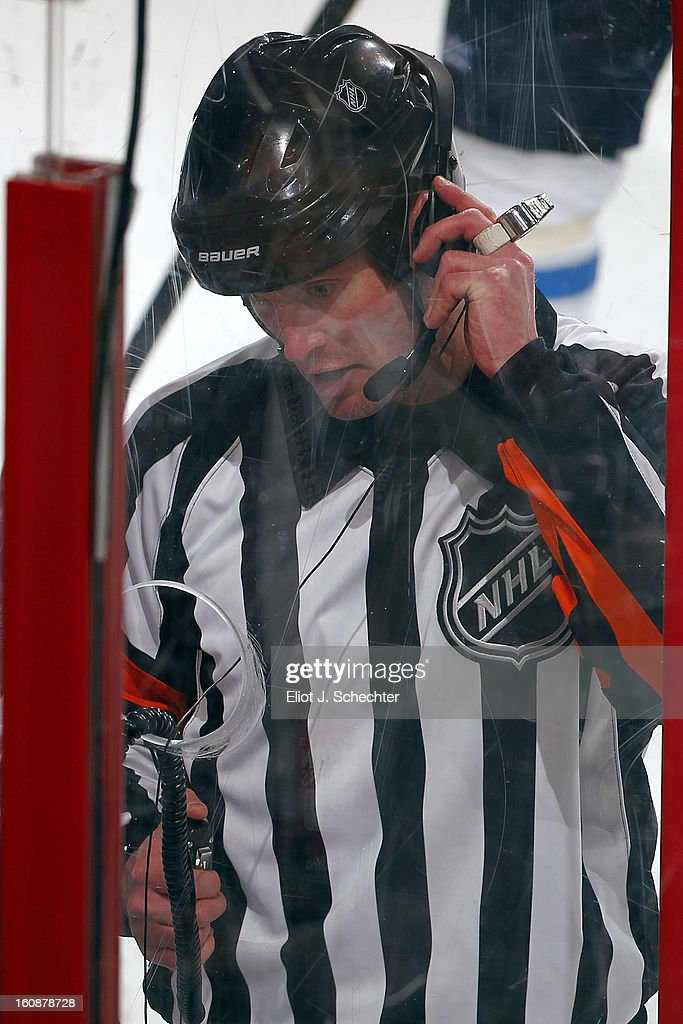NHL Referee Mike Leggo #3 checks to make sure a goal by the Florida Panthers is good against the Winnipeg Jets at the BB&T Center on January 31, 2013 in Sunrise, Florida.