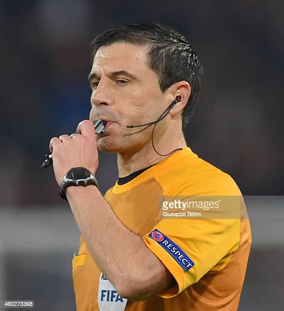 Referee Milorad Mazic during the UEFA Champions League Group E match between AS Roma and Manchester City FC at Stadio Olimpico on December 10 2014 in...