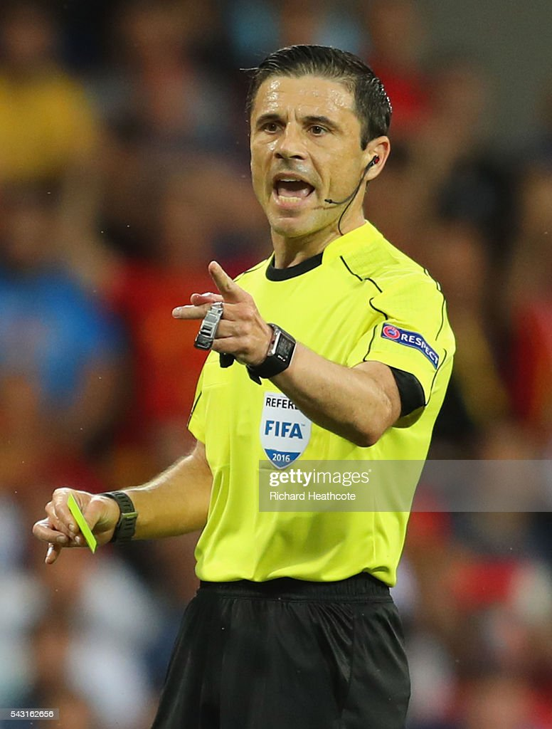 Referee Milorad Mazic gestures during the UEFA EURO 2016 round of 16 match between Hungary and Belgium at Stadium Municipal on June 26, 2016 in Toulouse, France.