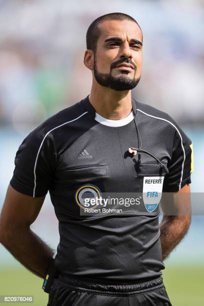 Referee Mohammed AlHakim ahead of the Allsvenskan match between Malmo FF and Jonkopings Sodra IF at Swedbank Stadion on July 22 2017 in Malmo Sweden
