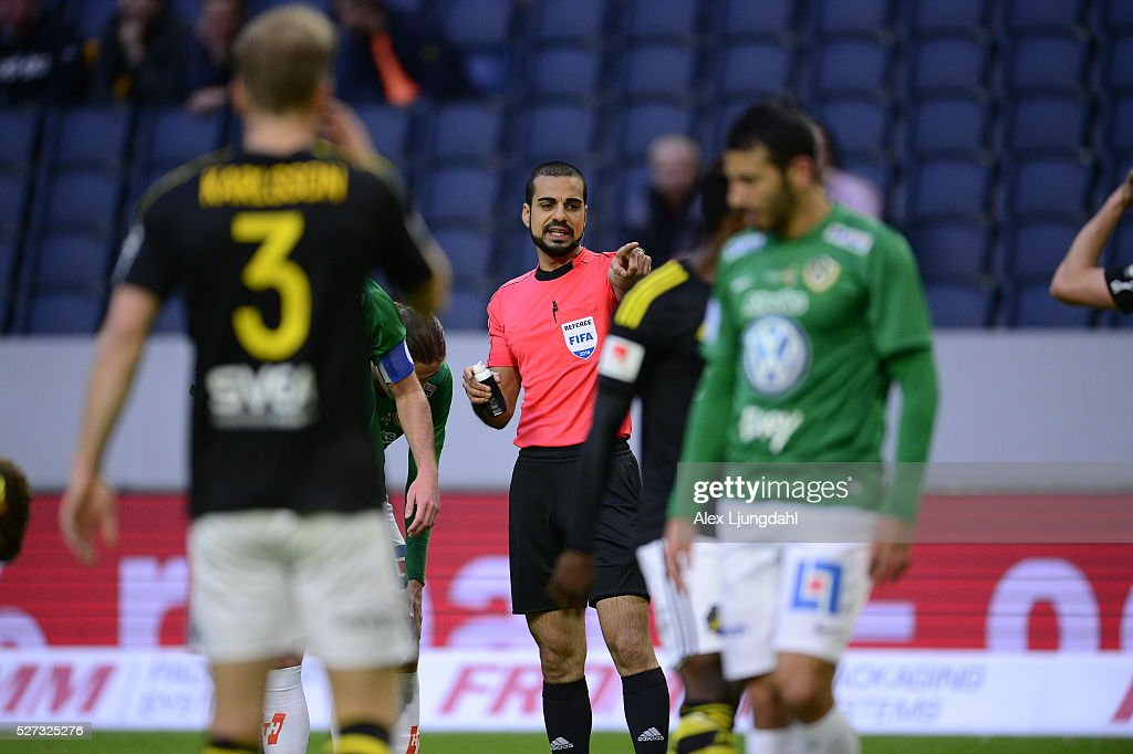 Referee Mohammed Al-Hakim during the allsvenskan match between AIK and Jonkkoping Sodra IF at Friends arena on May 2, 2016 in Solna, Sweden.
