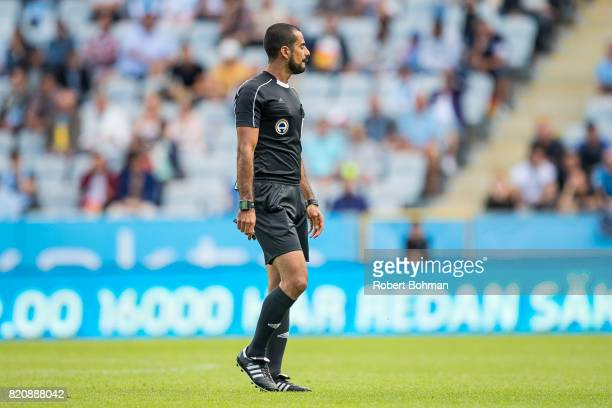 Referee Mohammed AlHakim during the Allsvenskan match between Malmo FF and Jonkopings Sodra IF at Swedbank Stadion on July 22 2017 in Malmo Sweden