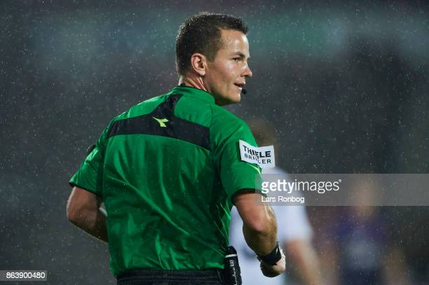 Referee Morten krogh looks on during the Danish Alka Superliga match between FC Midtjylland and AC Horsens at MCH Arena on October 20 2017 in Herning...