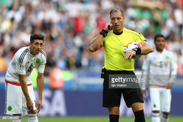 Referee Nestor Pitana gestures to disallow Pepe of Portugal goal during the FIFA Confederations Cup Russia 2017 Group A match between Portugal and...