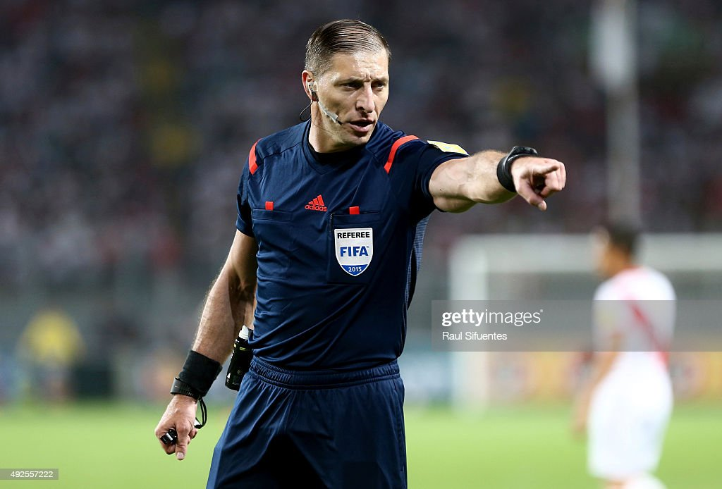Referee Nestor Pitana in action during a match between Peru and Chile as part of FIFA 2018 World Cup Qualifier at Nacional Stadium on October 13, 2015 in Lima, Peru.