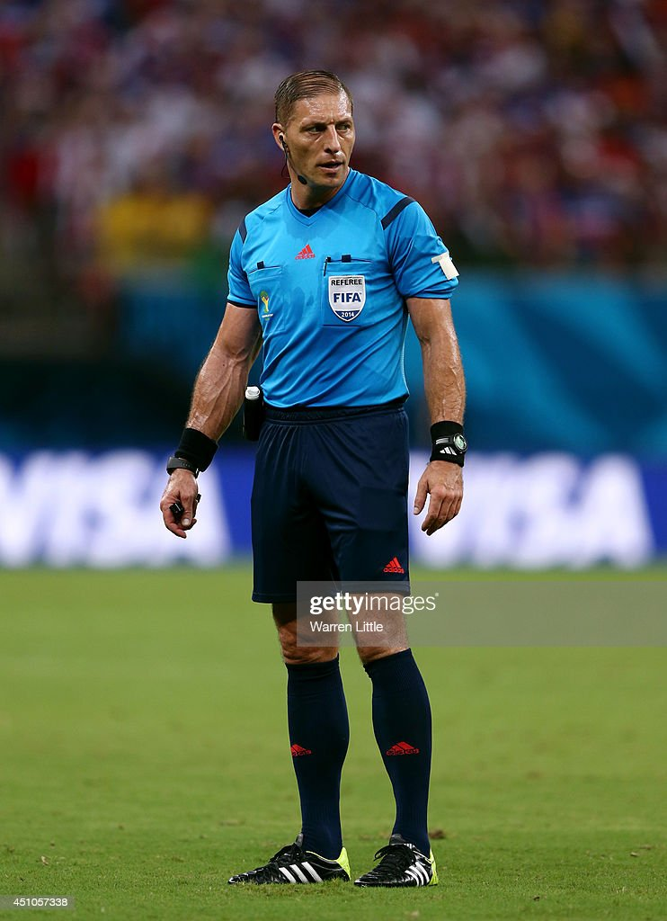 Referee Nestor Pitana looks on during the 2014 FIFA World Cup Brazil Group G match between the United States and Portugal at Arena Amazonia on June 22, 2014 in Manaus, Brazil.