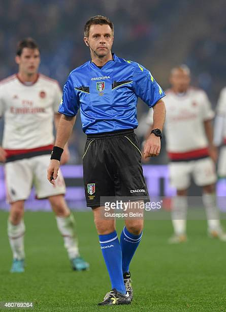 Referee Nicola Rizzoli during the Serie A match betweeen AS Roma and AC Milan at Stadio Olimpico on December 20 2014 in Rome Italy