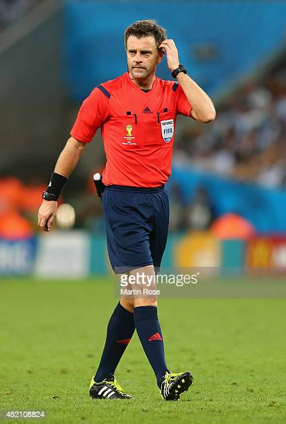Referee Nicola Rizzoli gestures during the 2014 FIFA World Cup Brazil Final match between Germany and Argentina at Maracana on July 13 2014 in Rio de...