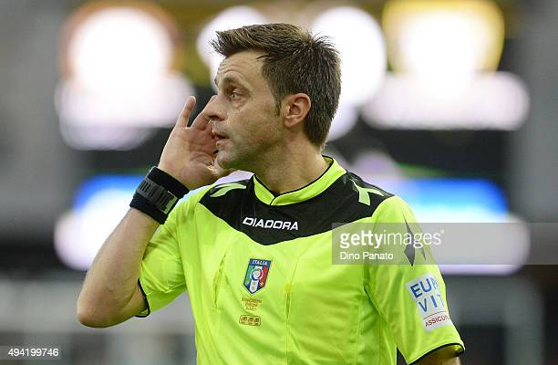 referee Nicola Rizzoli looks on during the Serie A match between Udinese Calcio and Frosinone Calcio at Stadio Friuli on October 25 2015 in Udine...