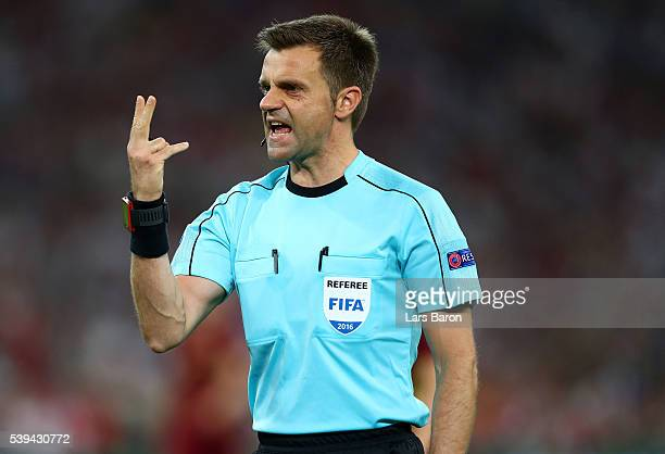 Referee Nicola Rizzoli looks on during the UEFA EURO 2016 Group B match between England and Russia at Stade Velodrome on June 11 2016 in Marseille...