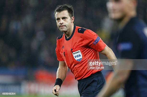 Referee Nicola Rizzoli of Italy looks on during the UEFA Champions League match between Paris SaintGermain and Real Madrid at Parc des Princes...