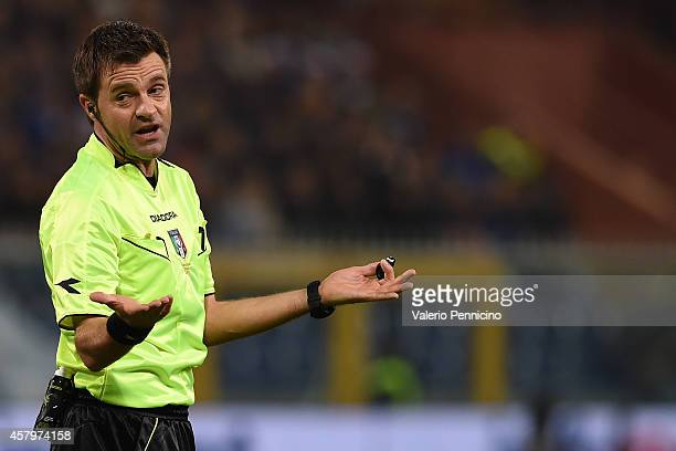 Referee Nicola Rizzoli reacts during the Serie A match between UC Sampdoria and AS Roma at Stadio Luigi Ferraris on October 25 2014 in Genoa Italy