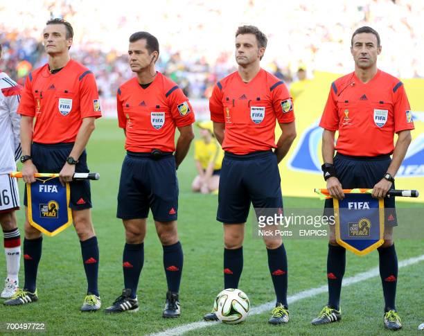Referee Nicolas Rizzoli with his officials before the World Cup final