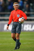 Referee Nicole Petignat of Switzerland takes charge of the UEFA Cup 1st Round 1st Leg Qualifying match between EB/Streymur and Manchester City at the...
