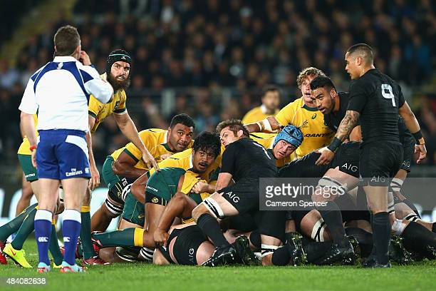 Referee Nigel Owens blows his whistle during The Rugby Championship Bledisloe Cup match between the New Zealand All Blacks and the Australian...