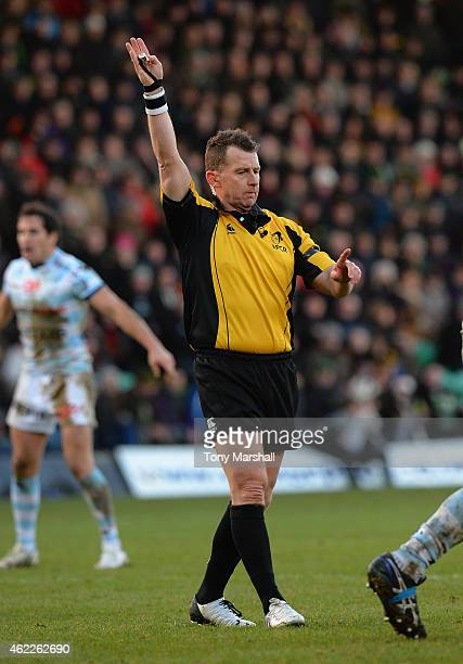 Referee Nigel Owens during the European Rugby Champions Cup match between Northampton Saints and Racing Metro 92 at Franklin's Gardens on January 24...