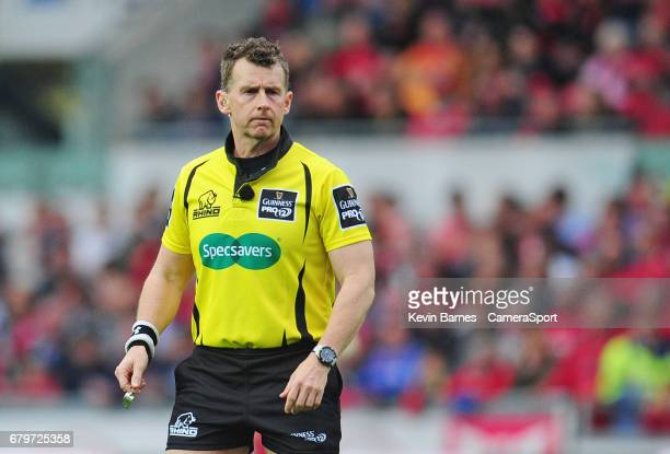 Referee Nigel Owens during the Guinness Pro12 Round 22 match between Scarlets and Ospreys at Parc y Scarlets on May 6 2017 in Llanelli Wales