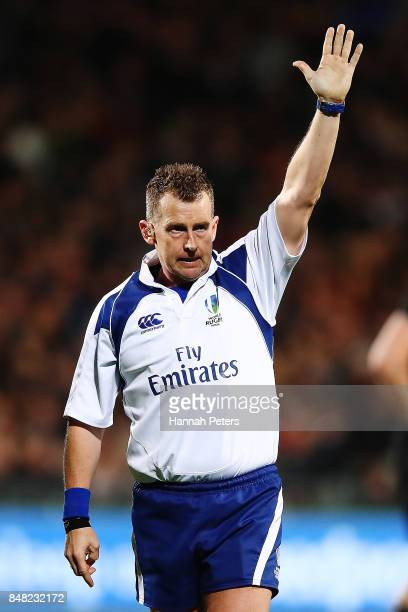 Referee Nigel Owens during the Rugby Championship match between the New Zealand All Blacks and the South African Springboks at QBE Stadium on...