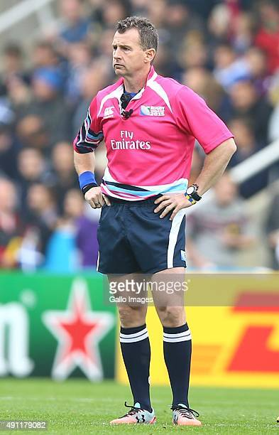 Referee Nigel Owens during the Rugby World Cup 2015 Pool B match between South Africa and Scotland at St James Park on October 03 2015 in Newcastle...