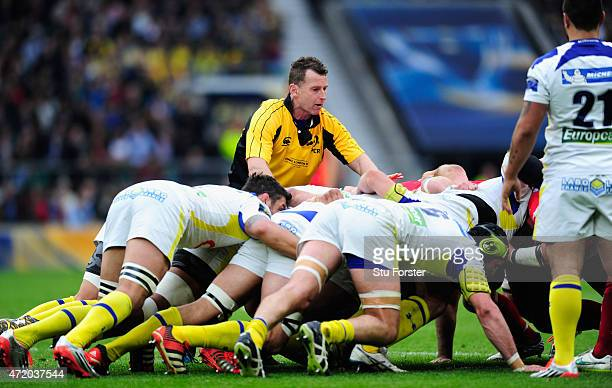 Referee Nigel Owens in action during the European Rugby Champions Cup Final between ASM Clermont Auvergne and RC Toulon at Twickenham Stadium on May...