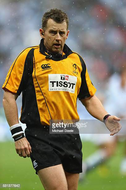 Referee Nigel Owens of Wales during the European Rugby Champions Cup Final match between Racing 92 and Saracens at Stade de Lyon on May 14 2016 in...