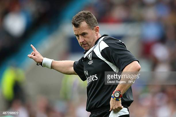 Referee Nigel Owens of Wales gives a decison during the QBE International match between England and Ireland at Twickenham Stadium on September 5 2015...