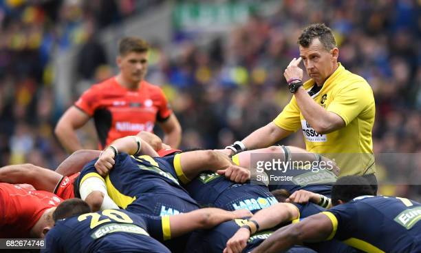 Referee Nigel Owens of Wales officiates during the European Rugby Champions Cup Final between ASM Clermont Auvergne and Saracens at Murrayfield...