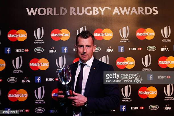 Referee Nigel Owens of Wales poses after receiving the World Rugby Referee award during the World Rugby Awards 2015 at Battersea Evolution on...