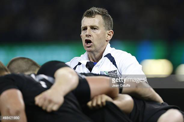 Referee Nigel Owens of Wales reacts during the 2015 Rugby World Cup Quarter Final match between New Zealand and France at the Millennium Stadium on...