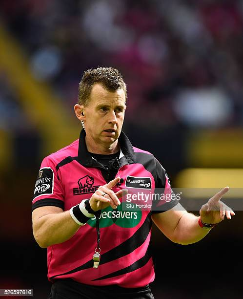 Referee Nigel Owens reacts during the Guinness Pro 12 match between Cardiff Blues and Ospreys at Principality Stadium on April 30 2016 in Cardiff...