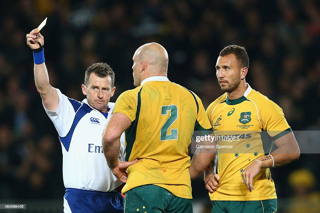 Referee <a gi-track='captionPersonalityLinkClicked' href=/galleries/search?phrase=Nigel+Owens&family=editorial&specificpeople=2123896 ng-click='$event.stopPropagation()'>Nigel Owens</a> sends off <a gi-track='captionPersonalityLinkClicked' href=/galleries/search?phrase=Quade+Cooper&family=editorial&specificpeople=4176008 ng-click='$event.stopPropagation()'>Quade Cooper</a> of the Wallabies with a yellow card during The Rugby Championship, Bledisloe Cup match between the New Zealand All Blacks and the Australian Wallabies at Eden Park on August 15, 2015 in Auckland, New Zealand.