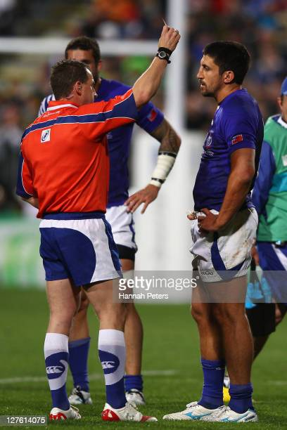 Referee Nigel Owens show Paul Williams of Samoa a red card during the IRB 2011 Rugby World Cup Pool D match between South Africa and Samoa at North...