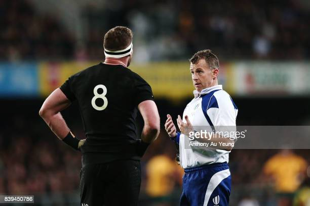 Referee Nigel Owens talks to Kieran Read of the All Blacks during The Rugby Championship Bledisloe Cup match between the New Zealand All Blacks and...