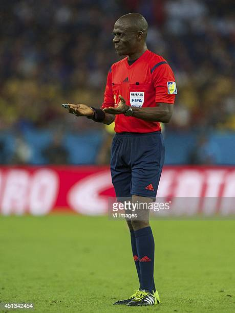 referee Noumandiez Doue during the FIFA World Cup match between Ecuador and France on June 25 2014 at the Maracana stadium in Rio de Janeiro Brazil