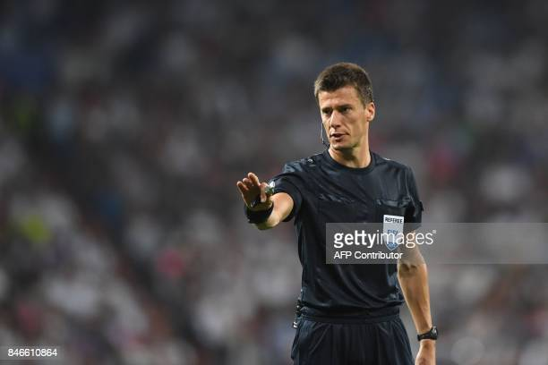 Referee of France Benoit Bastien gestures during the UEFA Champions League football match Real Madrid CF vs APOEL FC at the Santiago Bernabeu stadium...