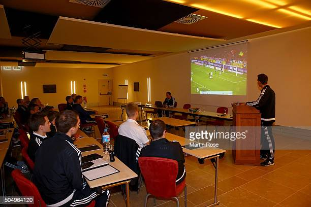 Referee of the Bundesliga attend the referee course during the DFB Referee Course at the Hilton Sa Torre Hotel Mallorca on January 14 2016 in Palma...