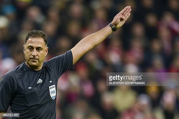 Referee Olegario Benquerenca in action during the UEFA Champions League Group E secondleg football match FC Bayern Munich vs CSKA Moscow in Munich...