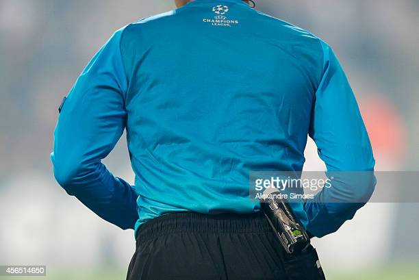 Referee Paolo Tagliavento and his bottle of vanishing spray during the UEFA Champions League Group D match between RSC Anderlecht and Borussia...