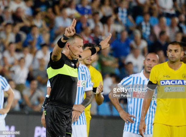 Referee Paolo Valeri gestures for VAR during the Serie A match between Spal and Udinese Calcio at Stadio Paolo Mazza on August 27 2017 in Ferrara...