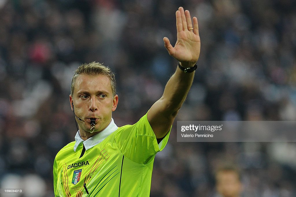 Referee Paolo Valeri signals a foul during the Serie A match between Juventus FC and UC Sampdoria at Juventus Arena on January 6, 2013 in Turin, Italy.