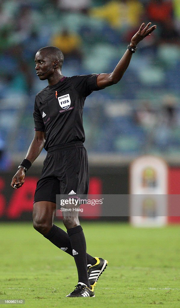 Referee Papa Backary Gassama of Gambia during the 2013 African Cup of Nations Semi-Final match between Mali and Nigeria at Moses Mahbida Stadium on February 06, 2013 in Durban, South Africa.