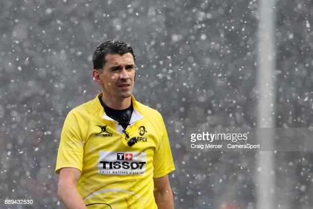Referee Pascal Gauzere during the European Rugby Champions Cup match between Harlequins and Ulster Rugby at Twickenham Stoop on December 10 2017 in...