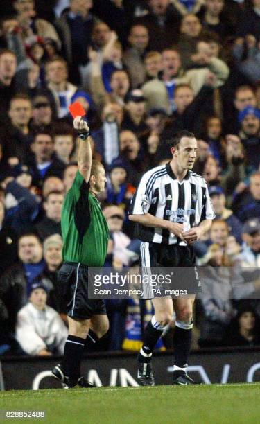 Referee Paul Durkin sends off Newcastle United's Andy O'Brien during their FA Barclaycard Premiership match at Chelsea's Stamford Bridge ground in...