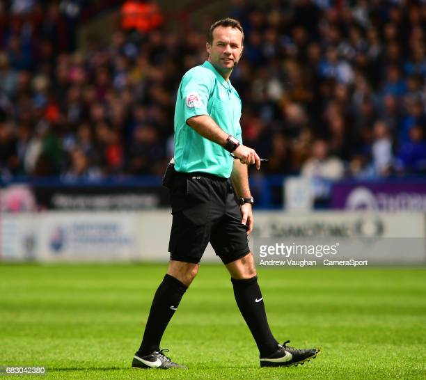 Referee Paul Tierney during the Sky Bet Championship PlayOff Semi Final First Leg match between Huddersfield Town and Sheffield Wednesday at The John...