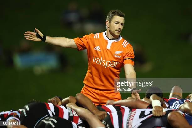 Referee Paul Williams during the round nine Mitre 10 Cup match between Counties Manukau and Tasman at ECOLight Stadium on October 14 2017 in Pukekohe...